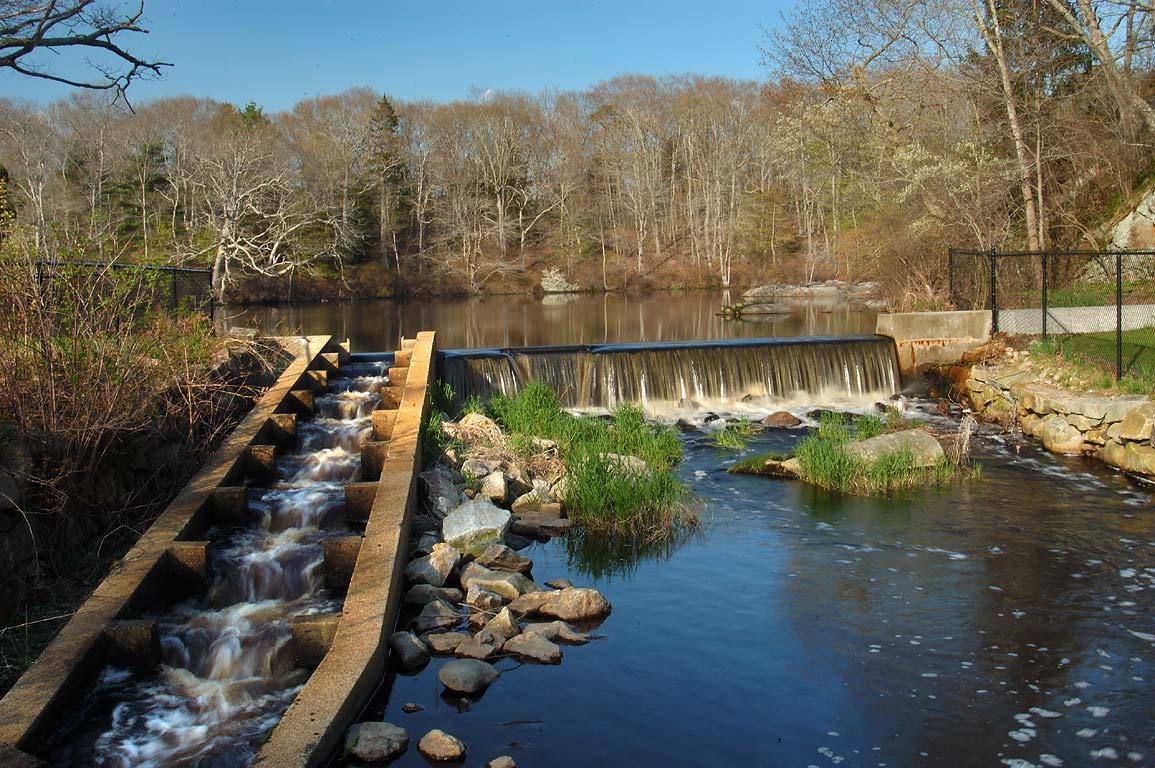 Fish ladder of a dam on Paskamansett/Slocums...village. Dartmouth, Massachusetts