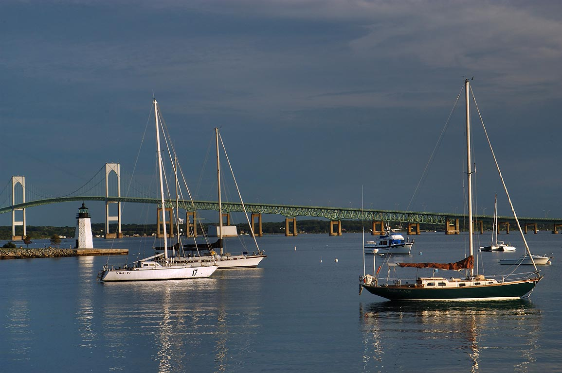 Boats in Narragansett Bay and Newport Bridge...Connector. Newport, Rhode Island