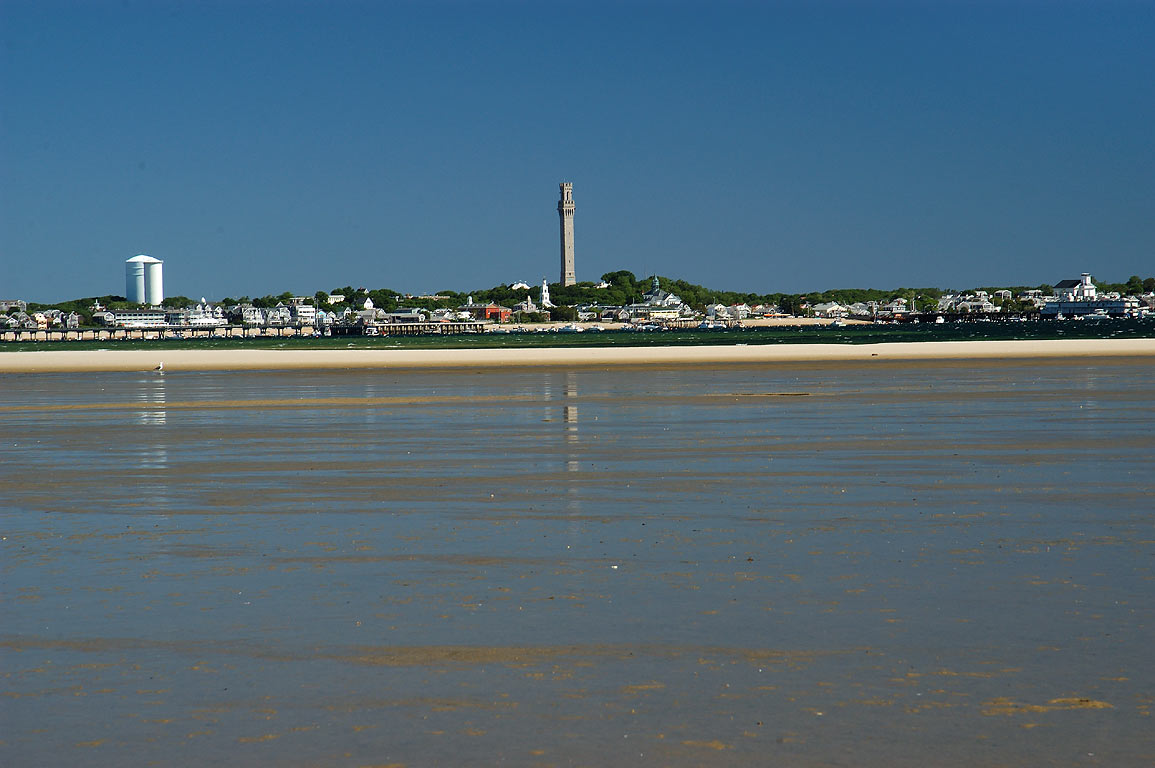 Provincetown Harbor and Provincetown, view from Long Point beach. Cape Cod, Massachusetts