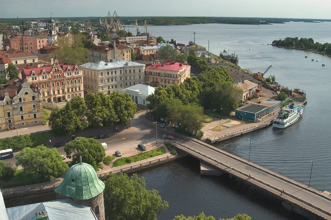 Old city of Vyborg and port, view from the castle. Leningrad Region, Russia