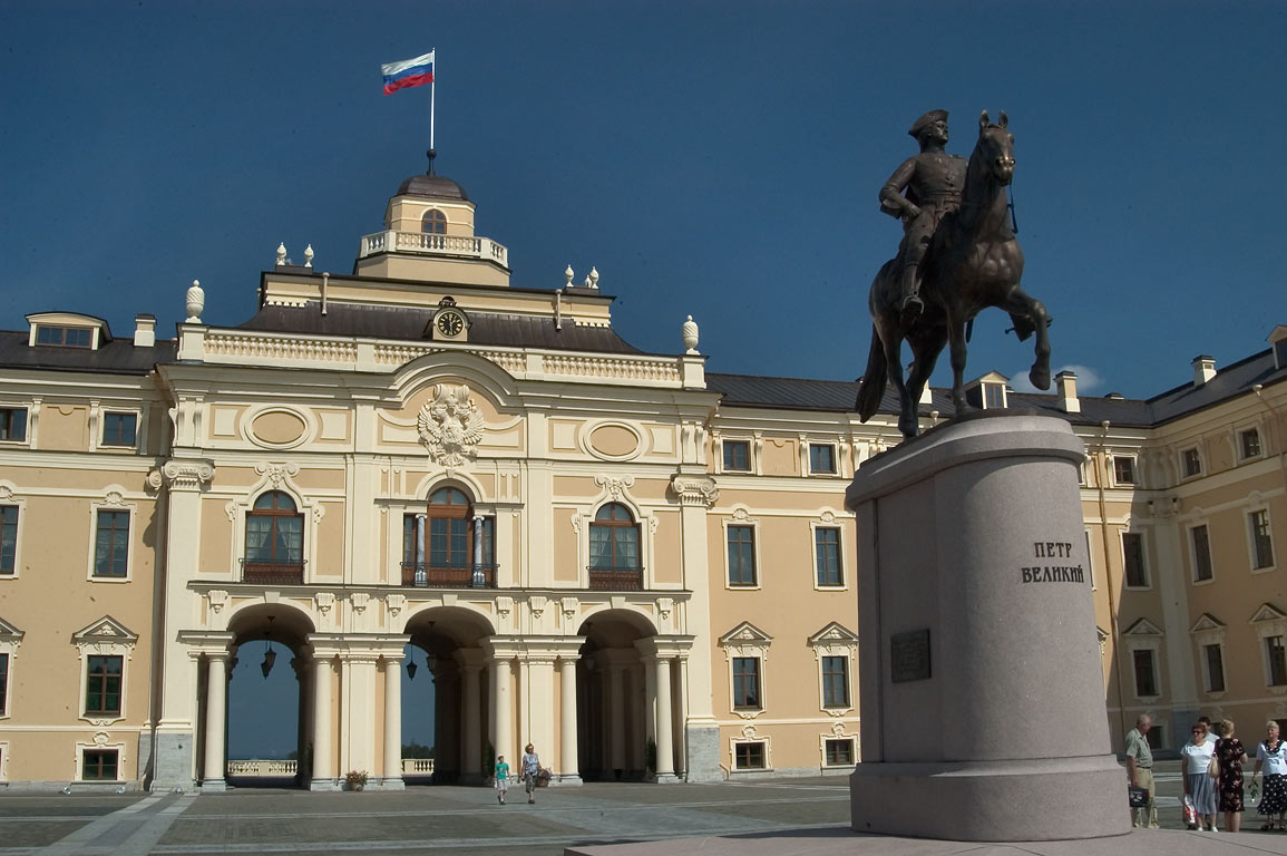 Konstantinovsky Palace and a monument of Peter the Great in Strelna. St.Petersburg, Russia