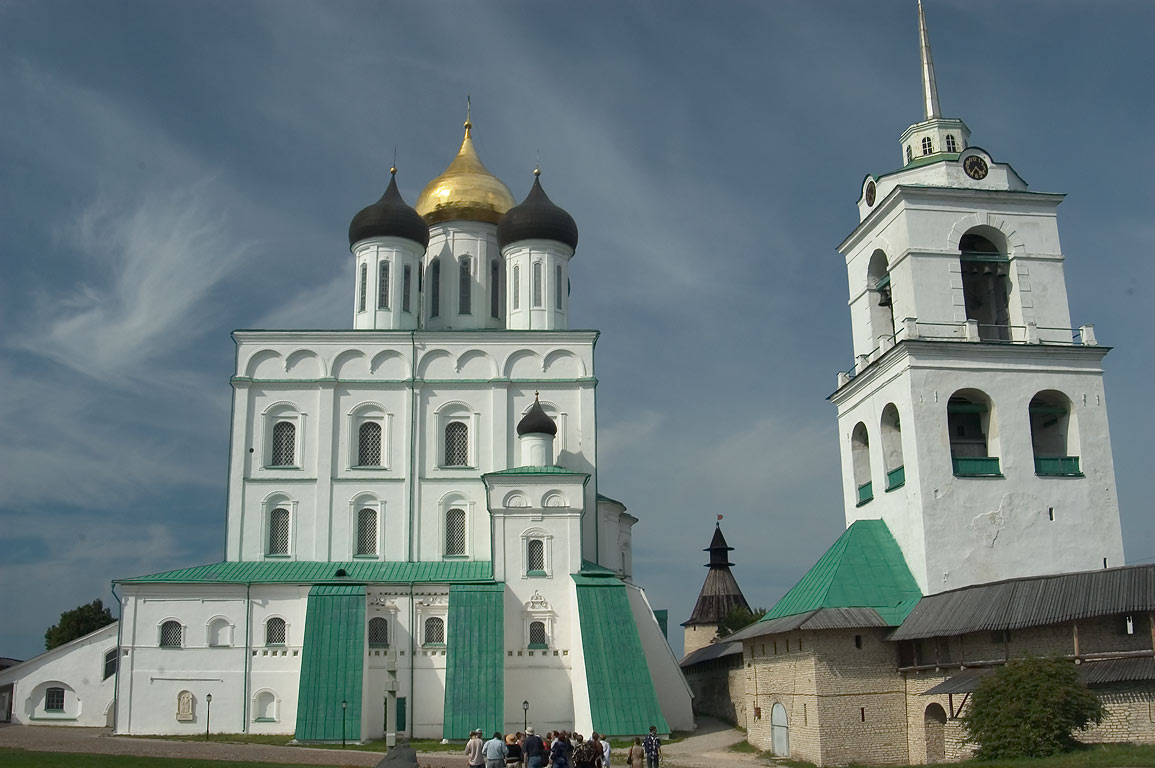 Trinity Cathedral and Bell Tower in Pskov Kremlin. Pskov, Russia