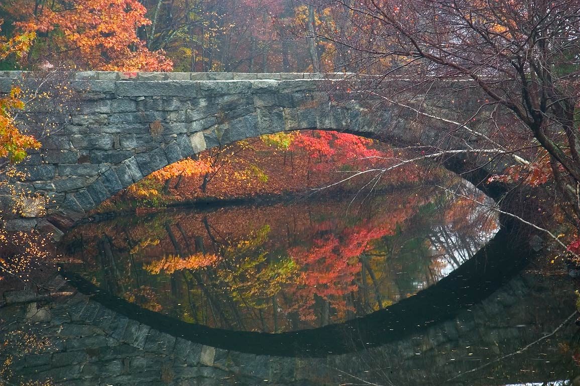 Stone Arch Bridge across Blackstone Canal in...State Park. Uxbridge, Massachusetts