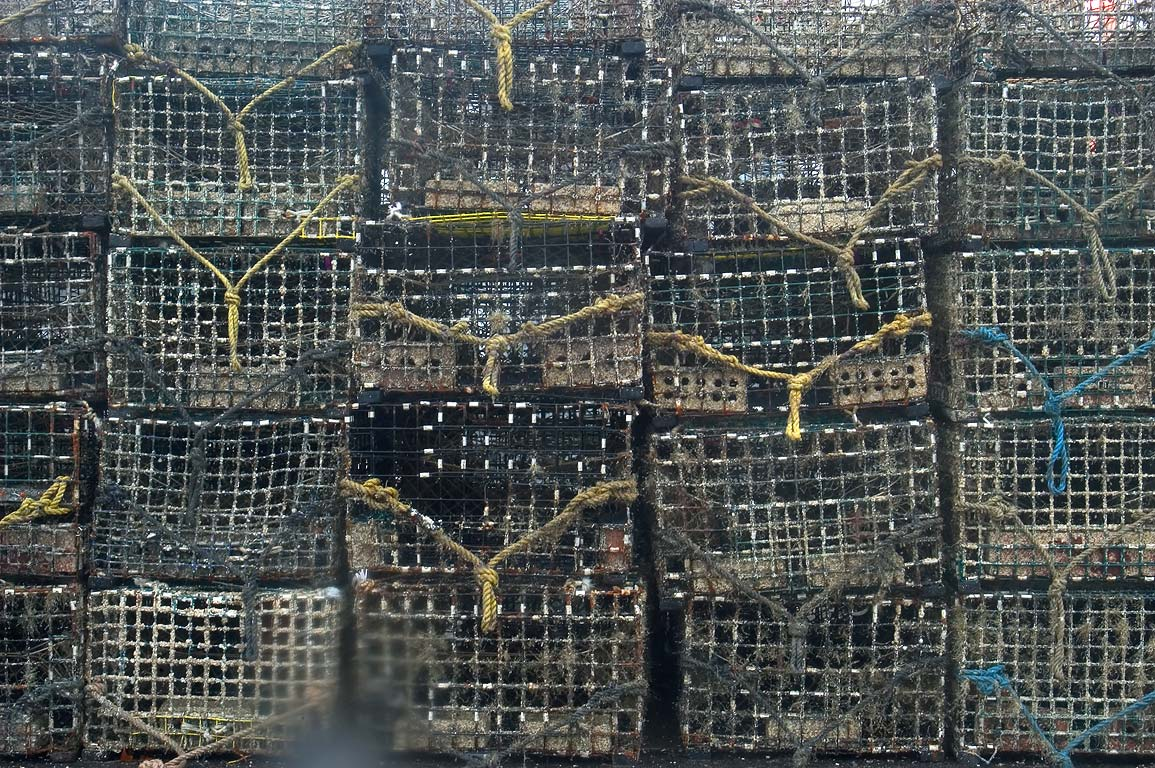 Lobster traps in Lees Wharf at Westport Point. Westport, Massachusetts