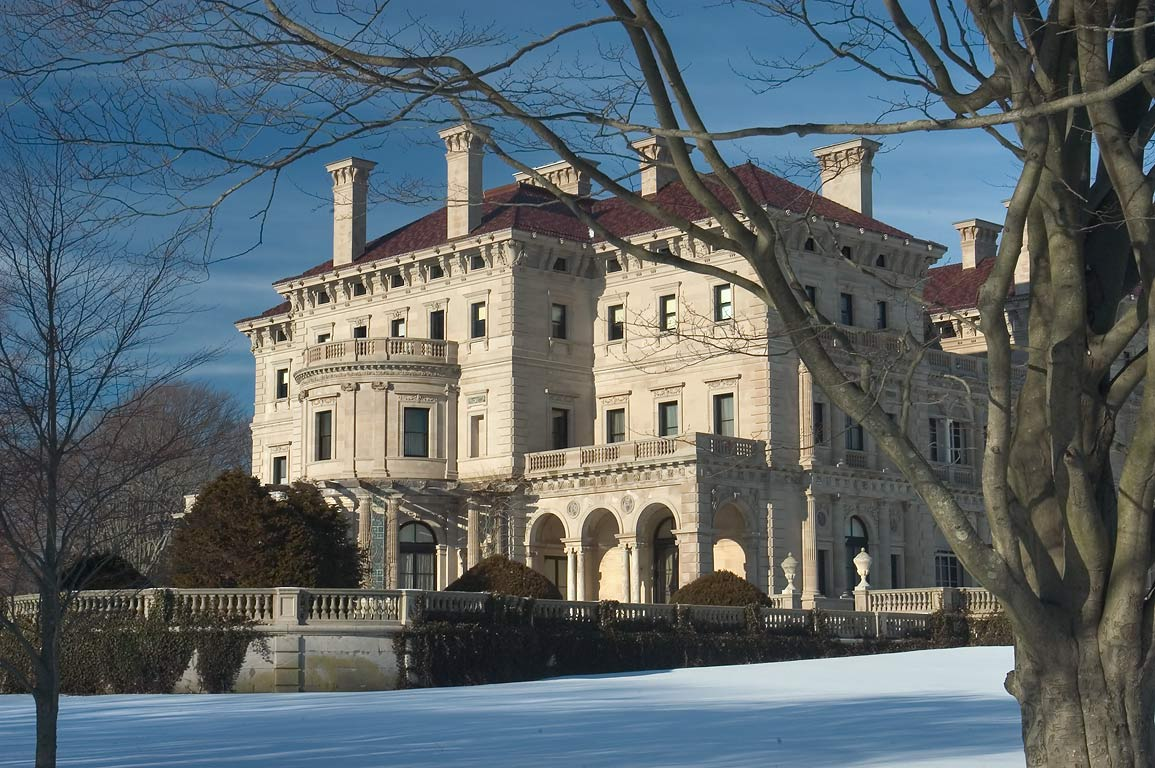 South side of the Breakers Mansion from Ruggles Ave.. Newport, Rhode Island