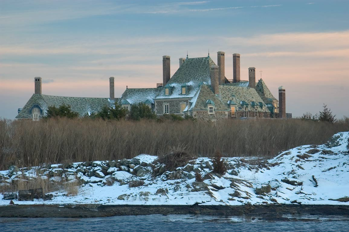 A mansion on Cherry Neck across Goose Neck Cove...Dr. at evening. Newport, Rhode Island