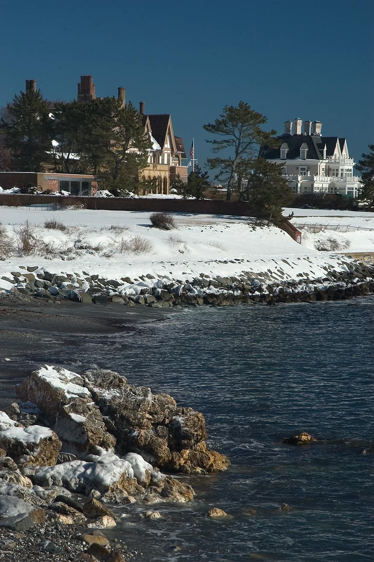 Fairhaven and Angelsea Mansions at Ochre Point...after snowfall. Newport, Rhode Island