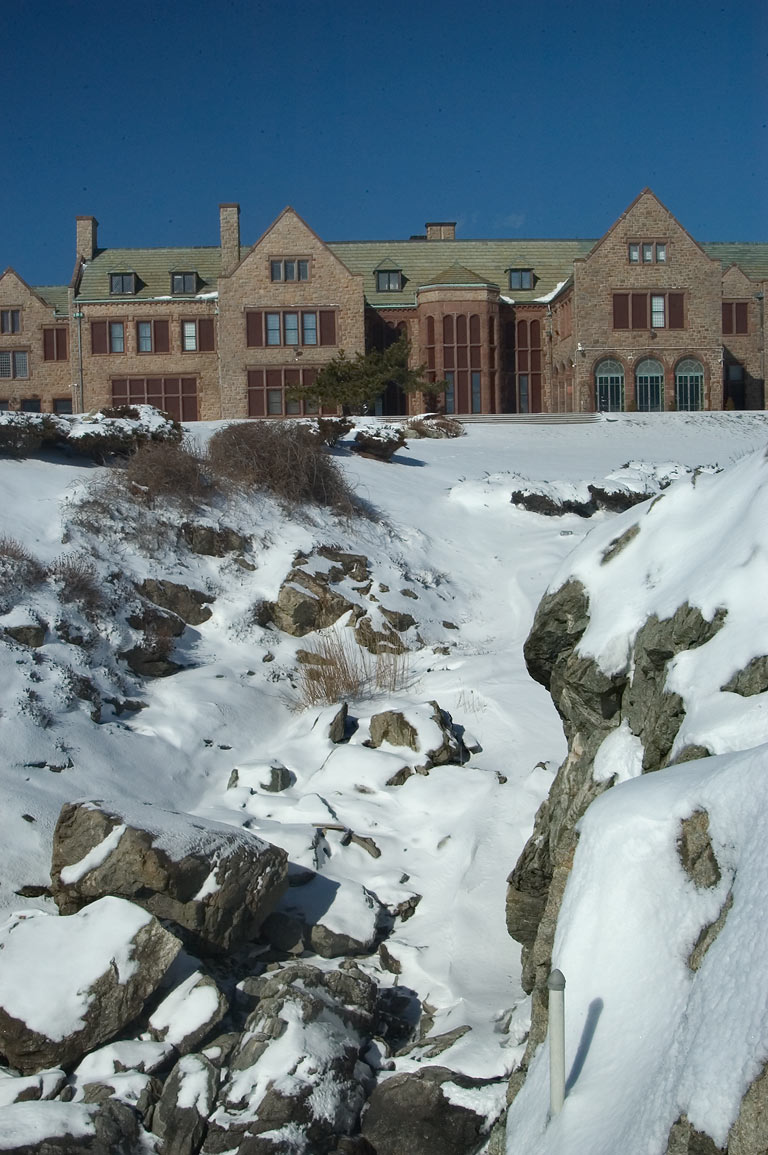 Rough Point Mansion from a bridge of Cliff Walk...after snowfall. Newport, Rhode Island