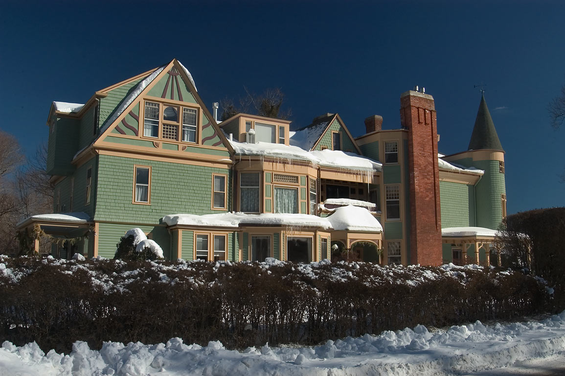 "Ivy Lodge ""Bed and Breakfast"" hotel on Clay St., after snowfall. Newport, Rhode Island"