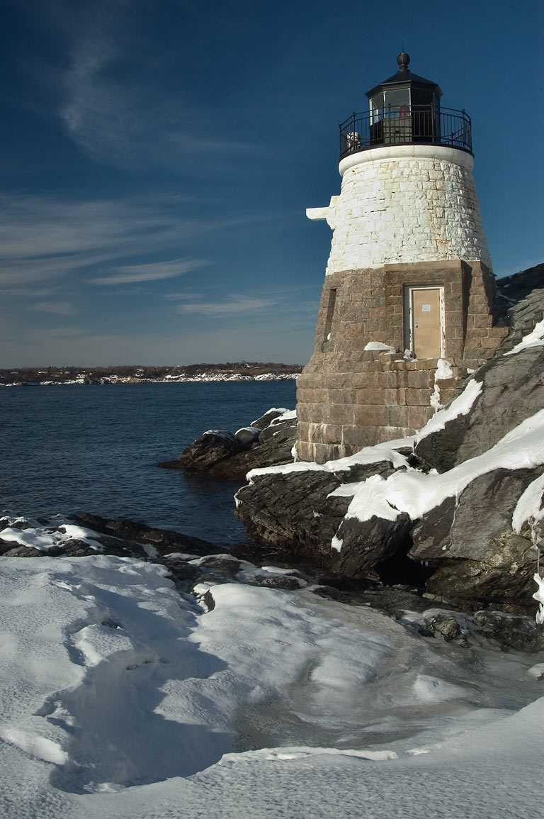 Castle Hill Lighthouse after snowfall. Newport, Rhode Island