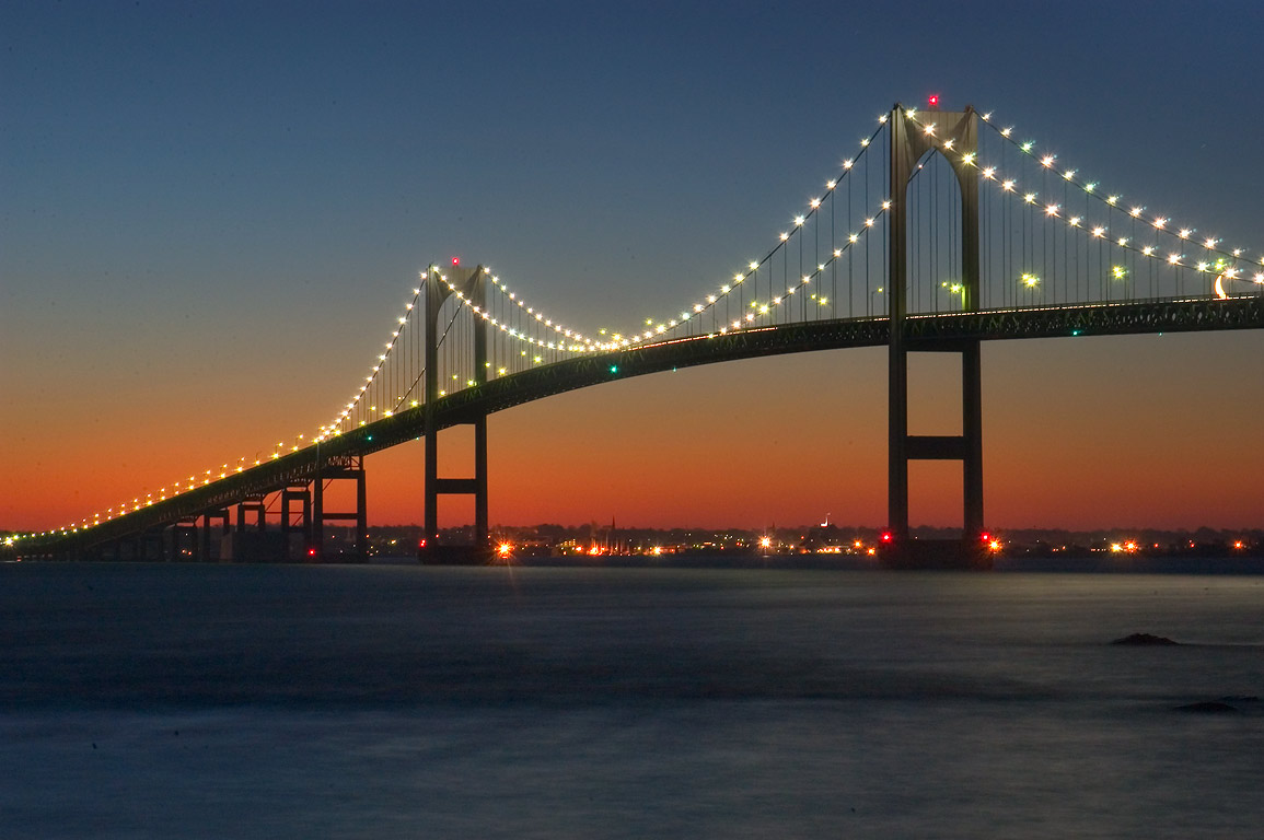 Newport Bridge at morning dusk, view from Taylor Point. Jamestown, Rhode Island