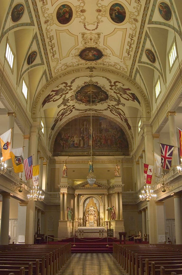 Interior of St.Louis Cathedral, north-west wall. New Orleans, Louisiana