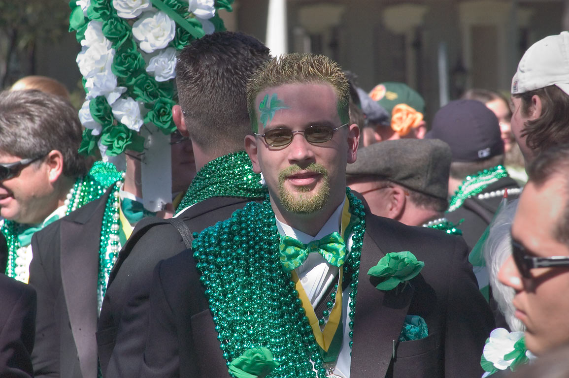 St.Patrick parade on St.Charles Ave., in Garden District. New Orleans, Louisiana