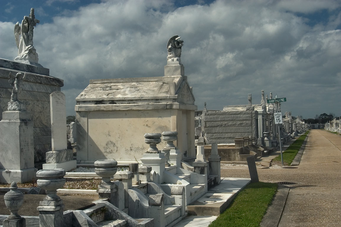 Greenwood Cemetery, crossing of Hawthorn and Jessamine streets. New Orleans, Louisiana