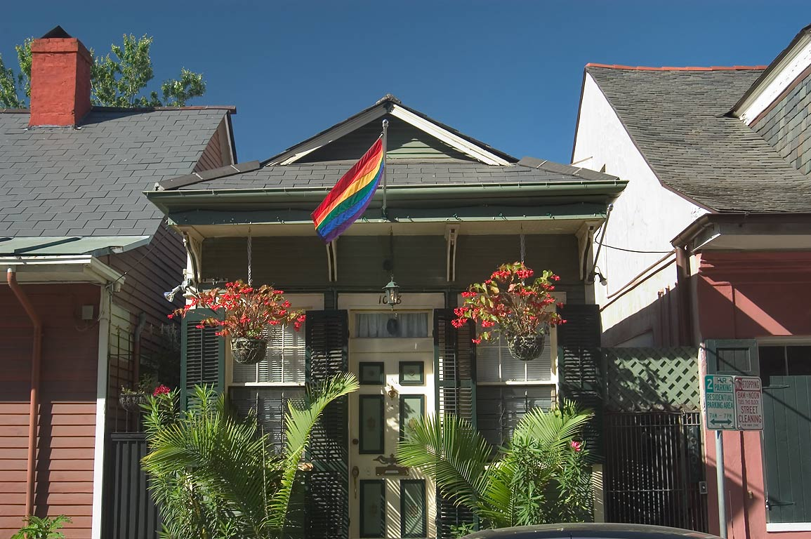 A cottage at 1008 St.Ann St. near Burgundy St. in French Quarter. New Orleans, Louisiana
