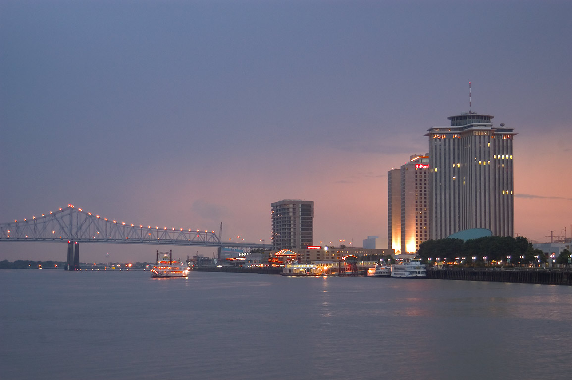 Mississippi River and New Orleans riverfront at evening. Louisiana