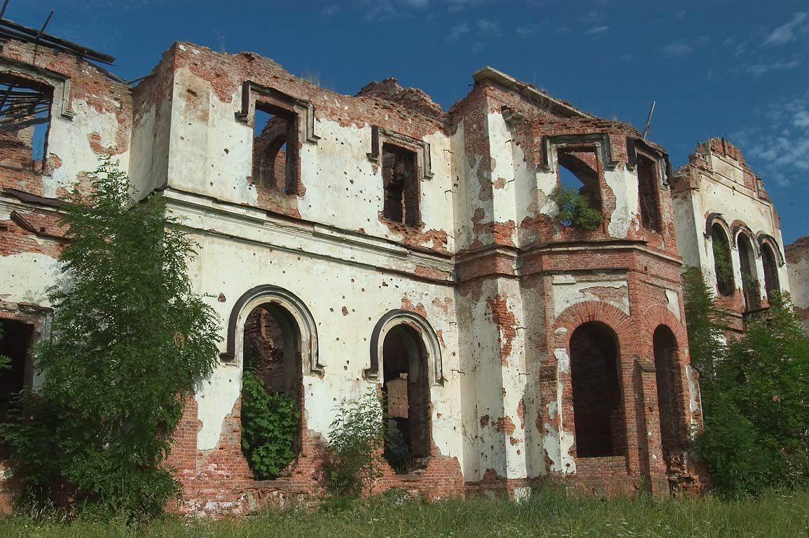 Ruins of manor house of Razoumovsky in Gostilitsy village. Leningrad Region, Russia