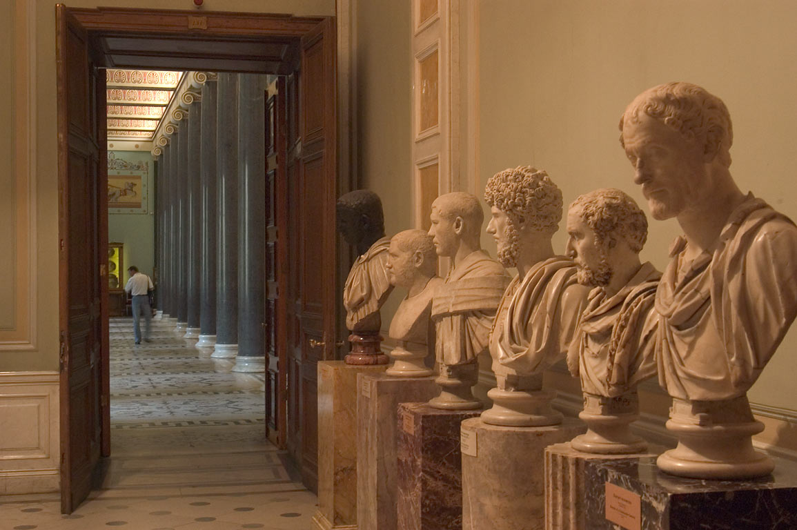 A passage to ancient art hall in Hermitage Museum. St.Petersburg, Russia
