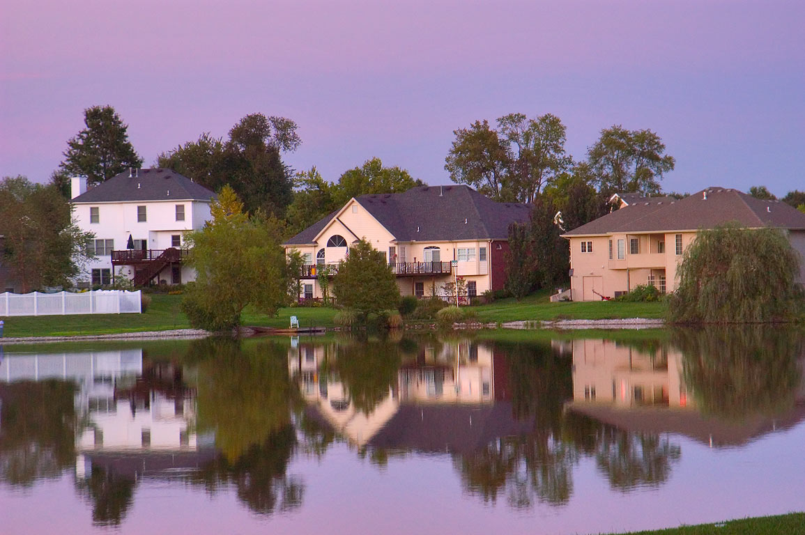 Twin Lakes at evening. Columbia, Missouri