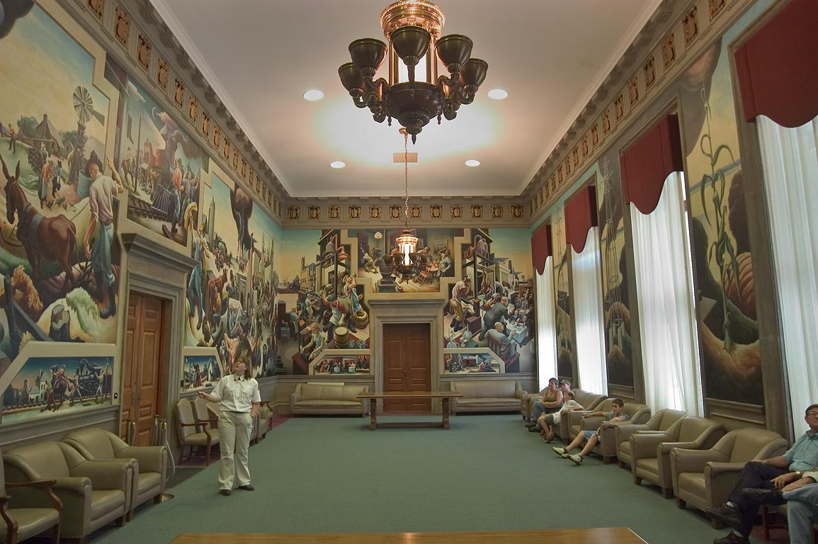 The House Lounge with Thomas Hart Benton murals...Capitol. Jefferson City, Missouri