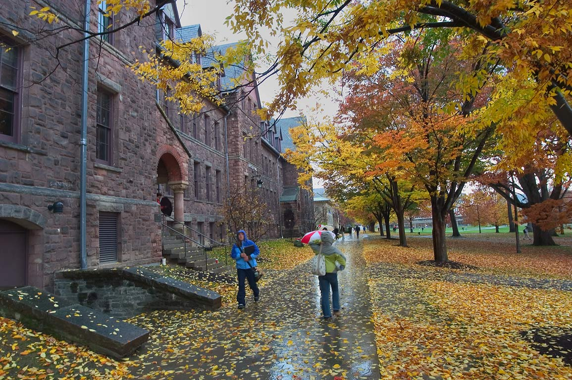 Lincoln Hall and Arts Quad of Cornell University at rain. Ithaca, New York