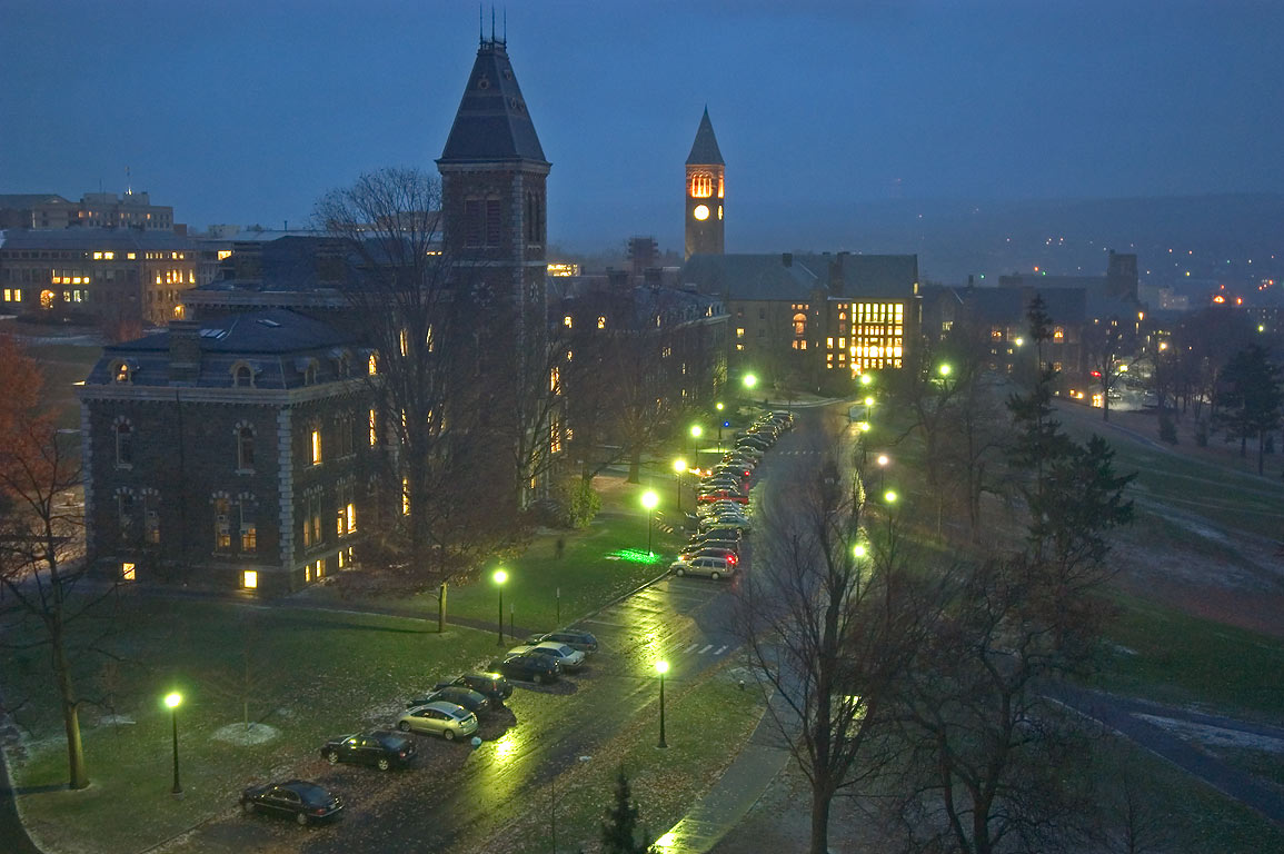Central Ave. of Cornell University campus from an...Museum of Art. Ithaca, New York