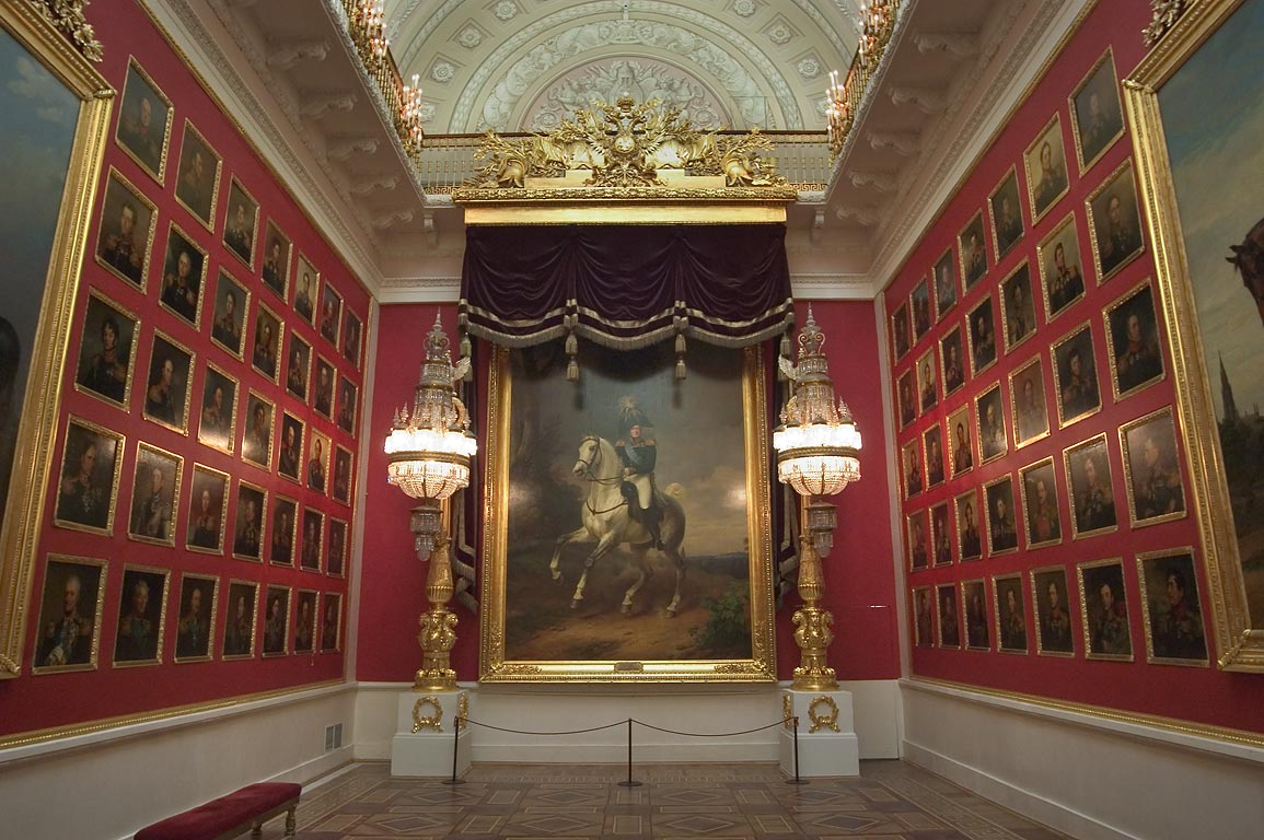 Great Patriotic War of 1812 portrait hall in Hermitage Museum. St.Petersburg, Russia