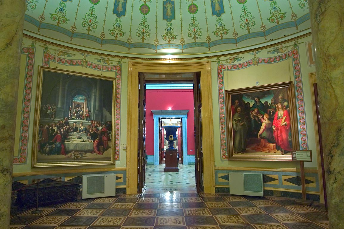 Old Italian art in Hermitage Museum. St.Petersburg, Russia