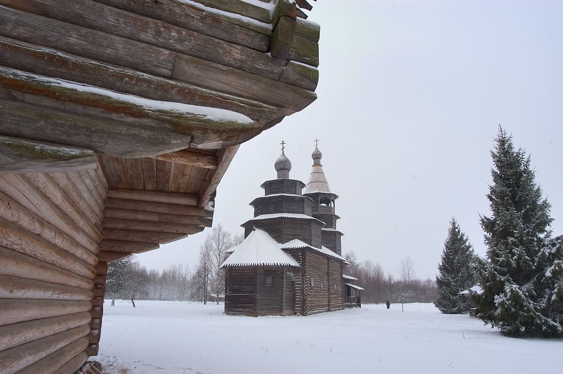 Vitoslavlitsy open-air wooden architecture museum (folk art). Novgorod, Russia