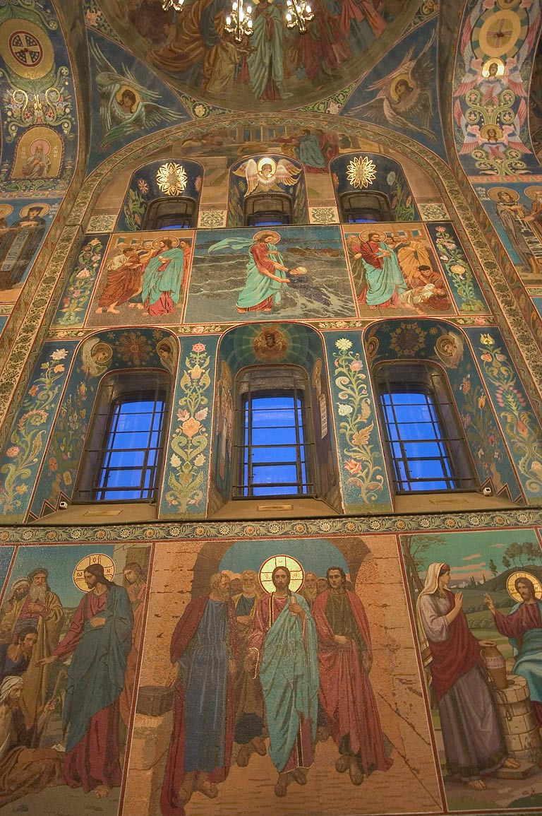 Windows and mosaic of Church of Savior on Blood. St.Petersburg, Russia