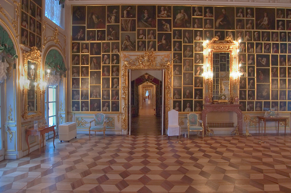 A portrait hall in Grand Palace in Peterhof. Near St.Petersburg, Russia