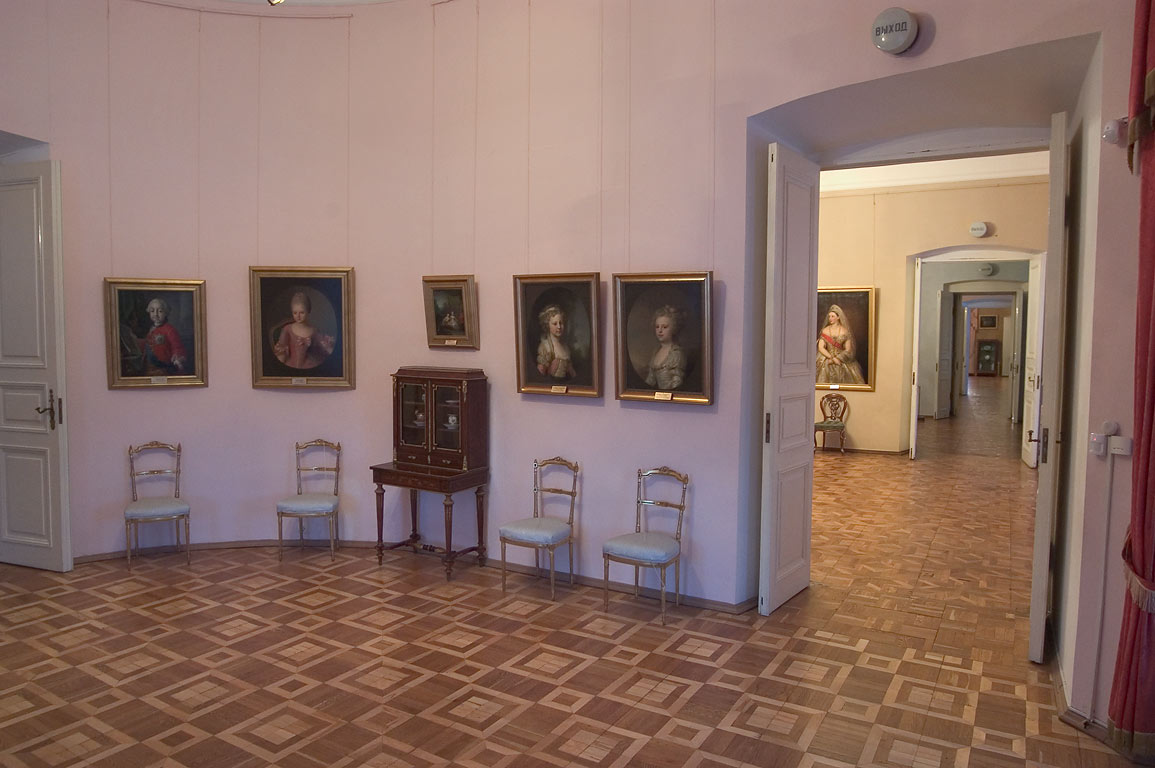 Rooms with portraits in Gatchina Palace near St.Petersburg. Russia