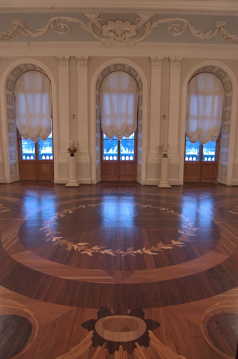 A living room and parquet floor in Gatchina Palace near St.Petersburg. Russia