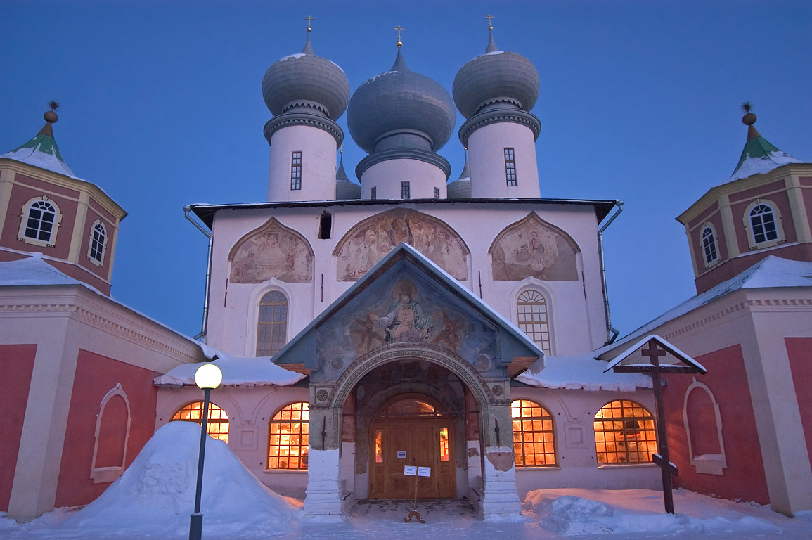 A cathedral in Uspensky Monastery at evening. Tikhvin, Leningrad Region, Russia