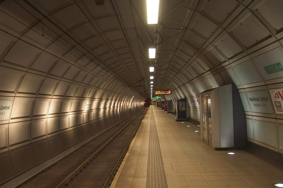 A tube of Heathrow Central subway station. London, Great Britain