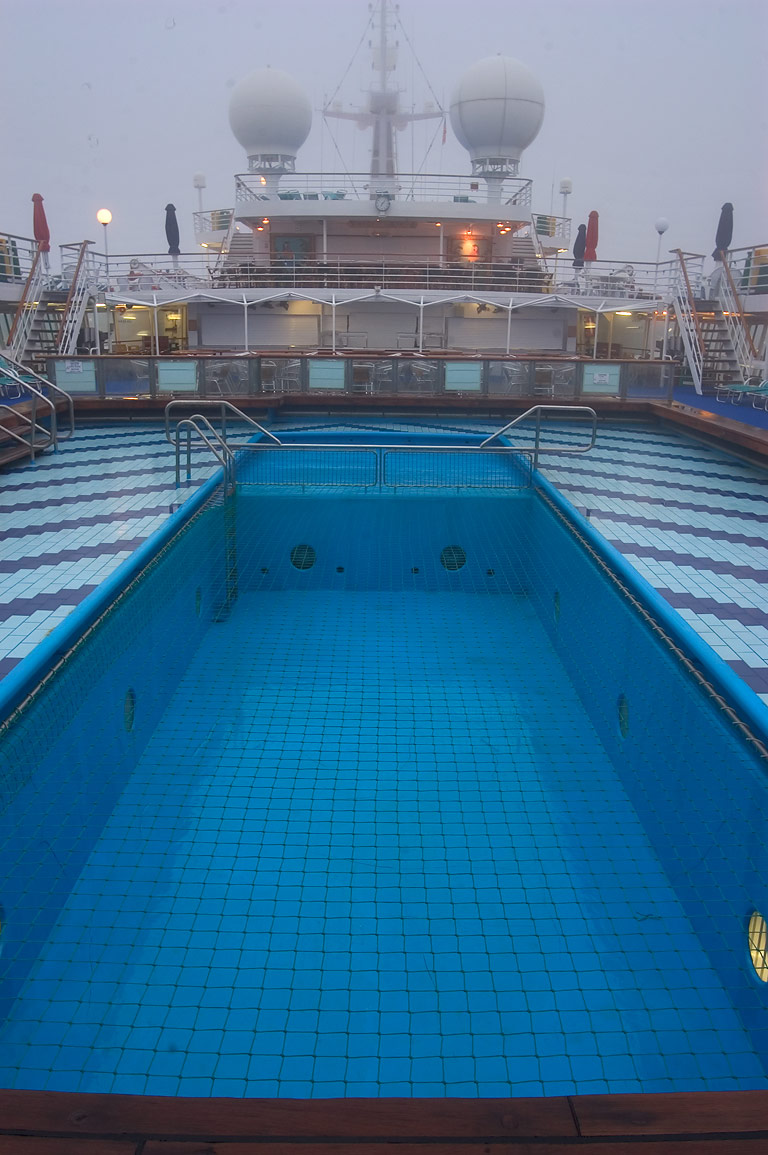 A swimming pool on the upper deck of cruise ship...at morning. New Orleans, Louisiana