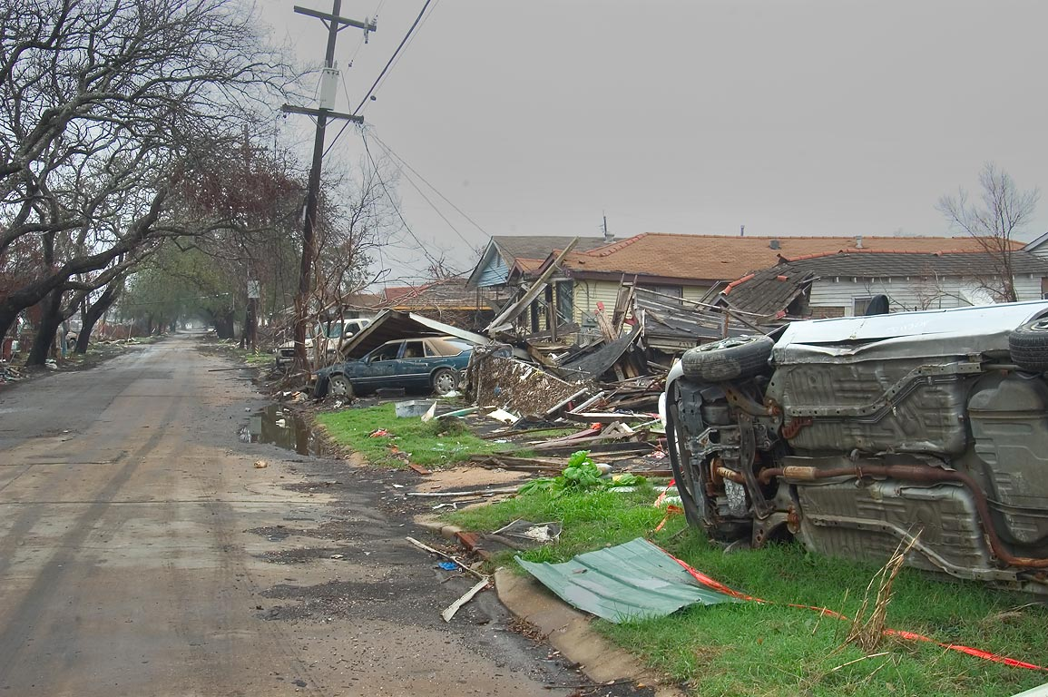 Oak alley of Andry St. and broken cars in Lower Ninth Ward. New Orleans, Louisiana