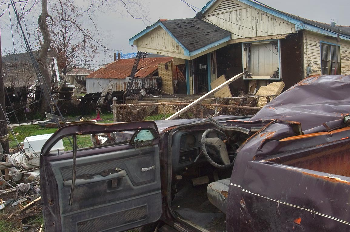 A deformed car near North Tonti St. in Lower Ninth Ward. New Orleans, Louisiana