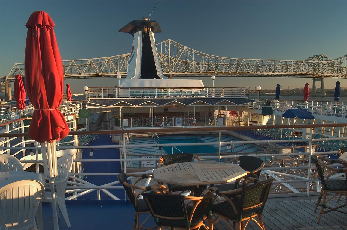 "A cafe on the upper deck of a cruise ship ""Dream Princess"". New Orleans, Louisiana"