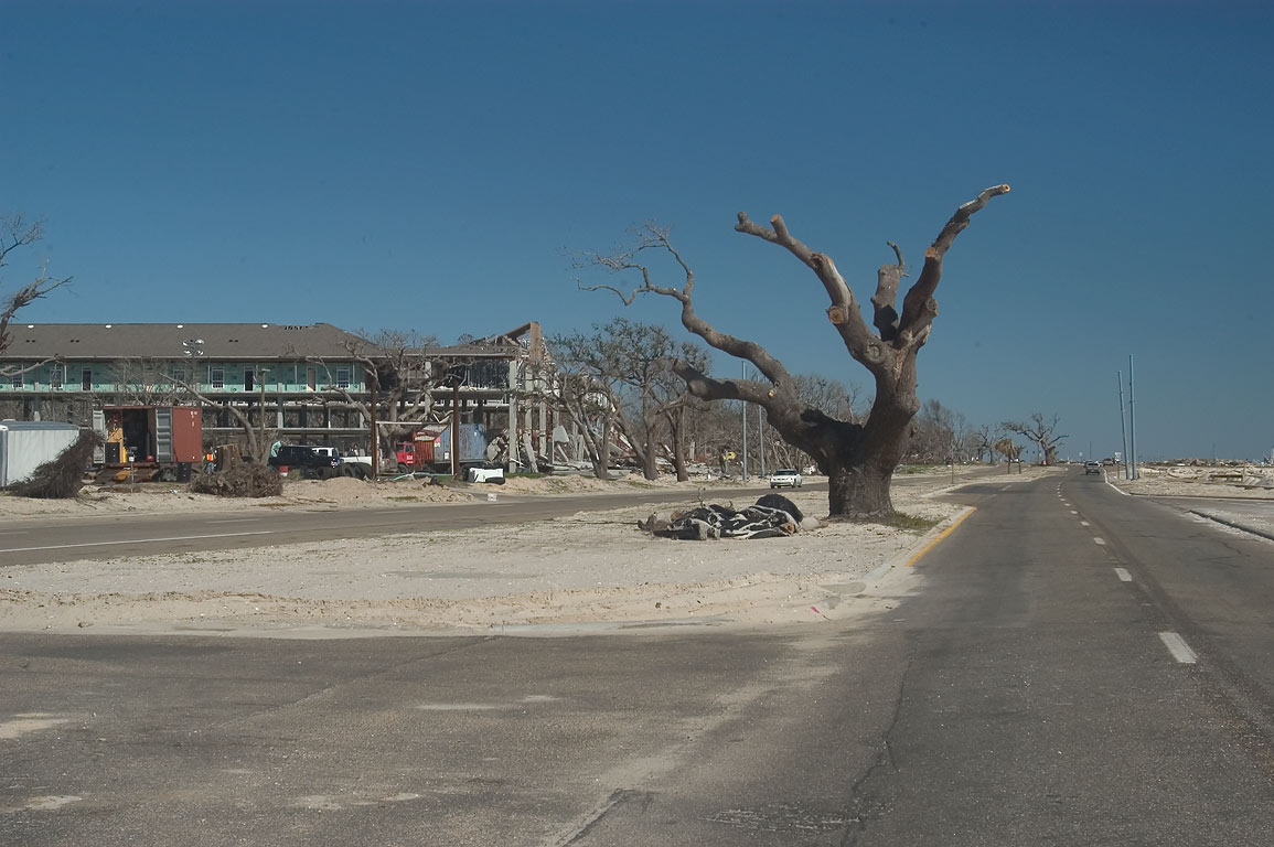 East Beach Blvd. (Road 90) along Gulf of Mexico in Pass Christian. Mississippi