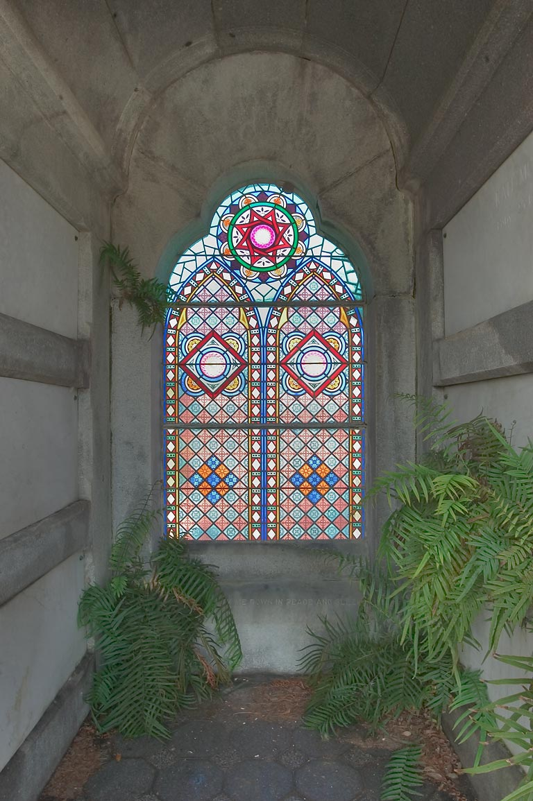 Stained glass window of a crypt of David C...Cemetery. New Orleans, Louisiana