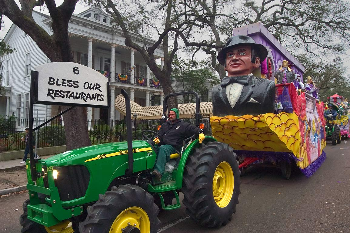 "Mardi Gras float No. 6 ""Bless our restaurants"" of...District. New Orleans, Louisiana"