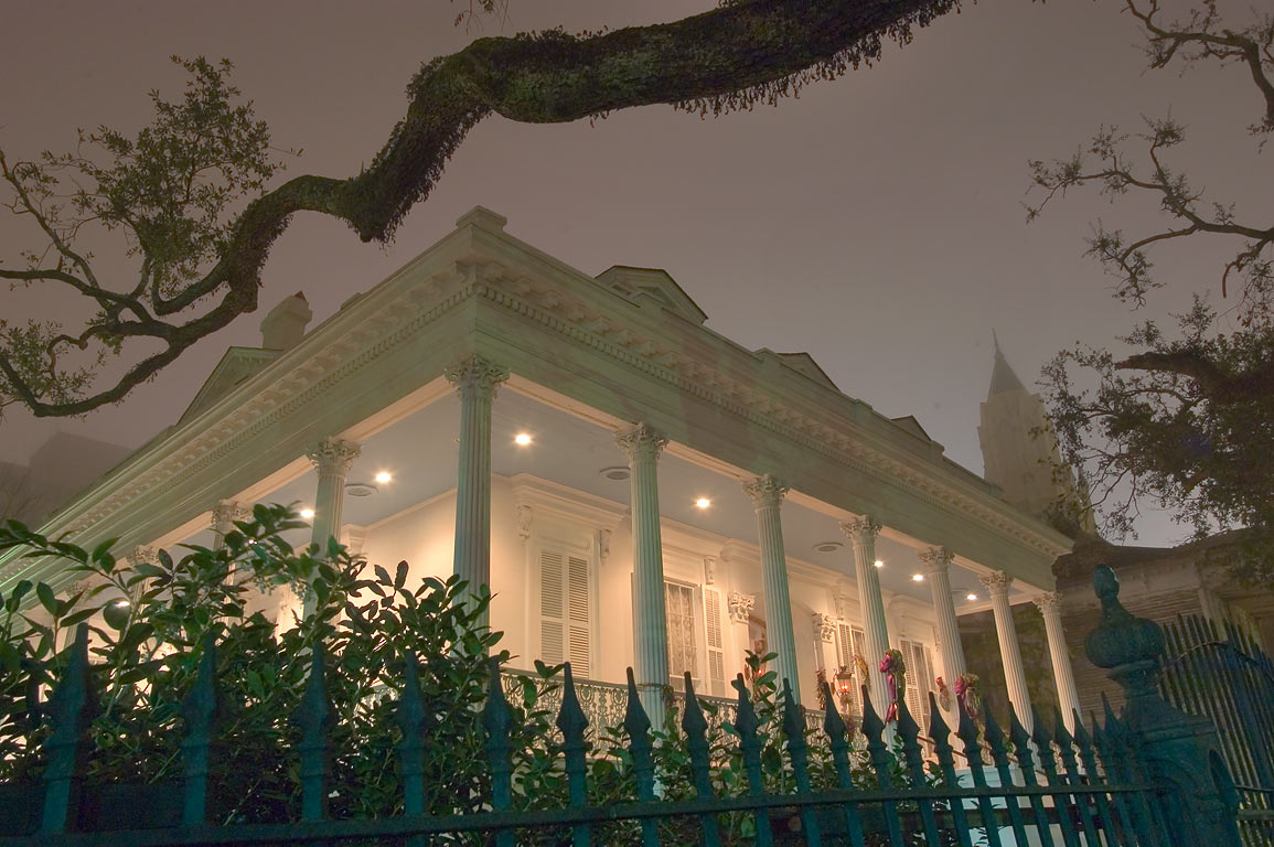 Magnolia hotel (A. Harris house, 1857-58) at a...at night. New Orleans, Louisiana