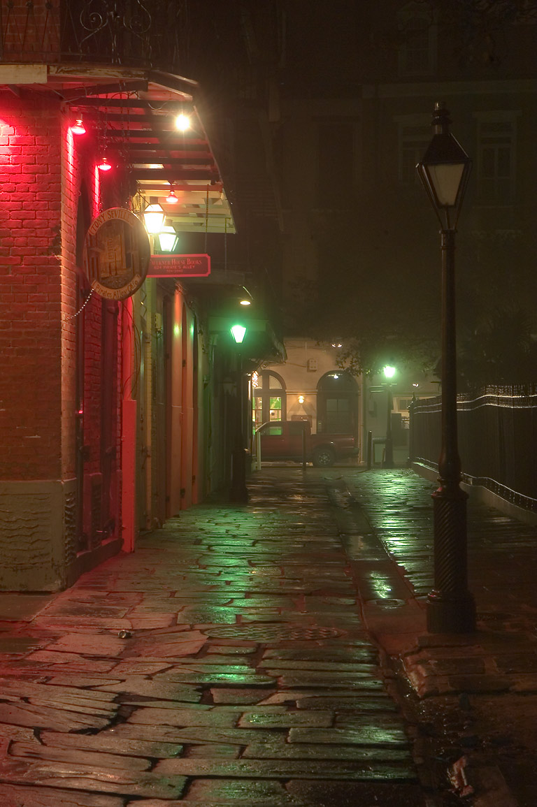 Pirates Alley, from a corner of Cabildo Alley...in mist. New Orleans, Louisiana