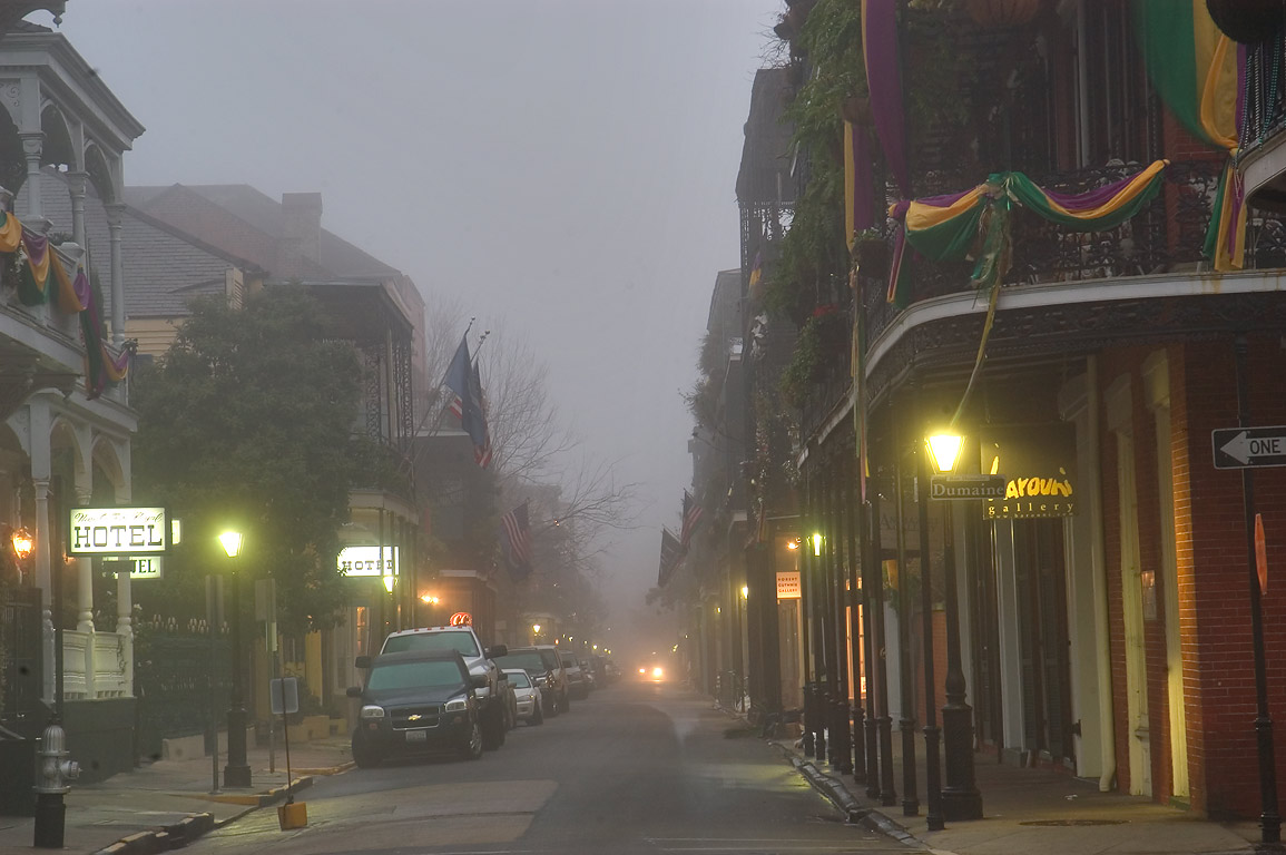 Corner of Dumaine and St.Ann streets in French...morning in fog. New Orleans, Louisiana