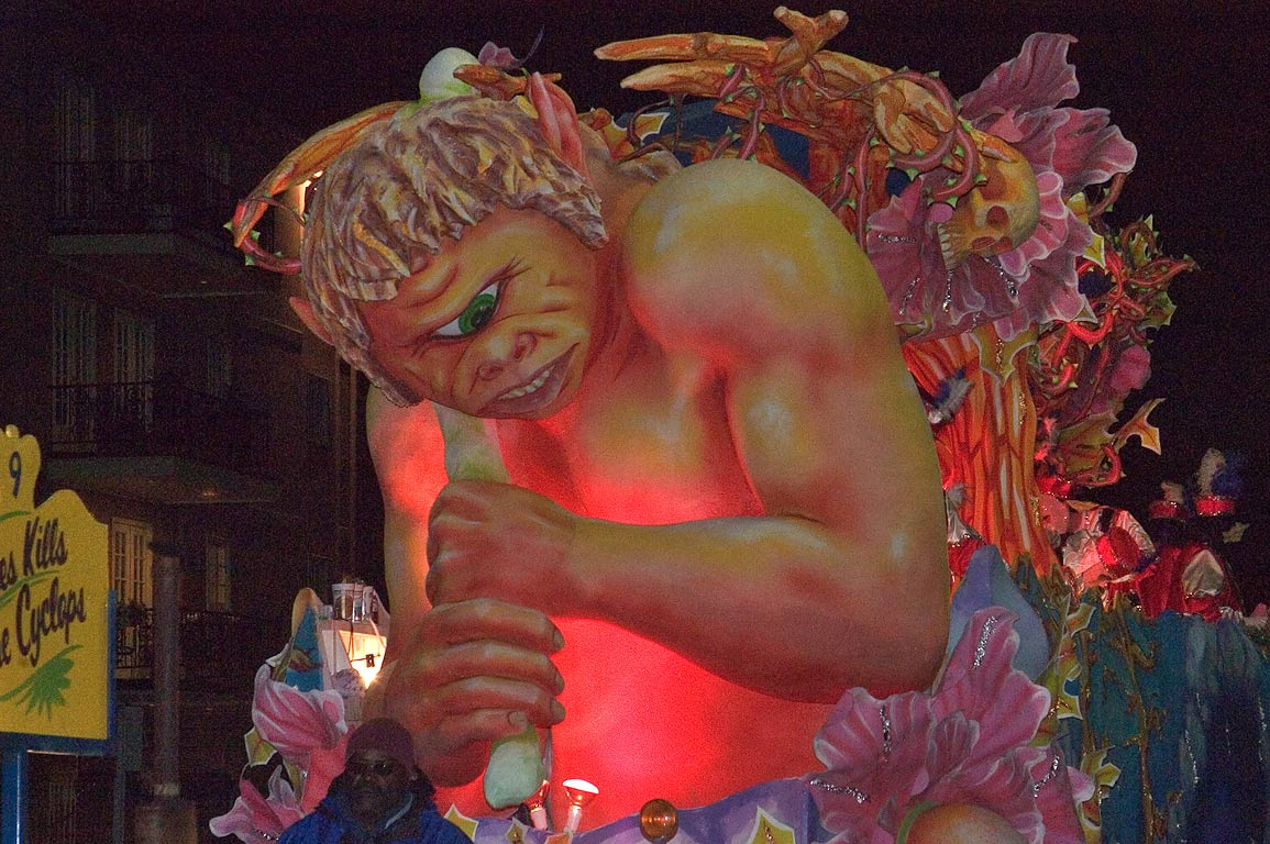 Cyclops float of krewe of Hermes at Mardi Gras...Charles Ave.. New Orleans, Louisiana