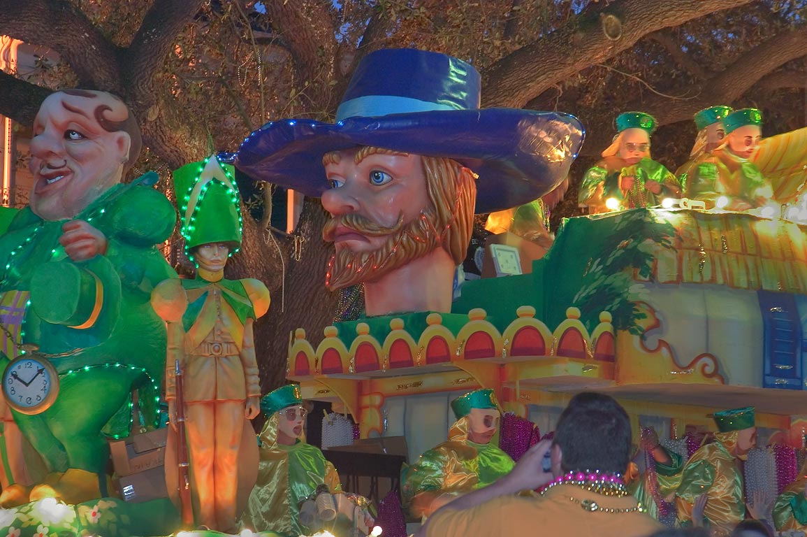 A float at Mardi Gras parade of krewe of Bacchus...Charles Ave.. New Orleans, Louisiana