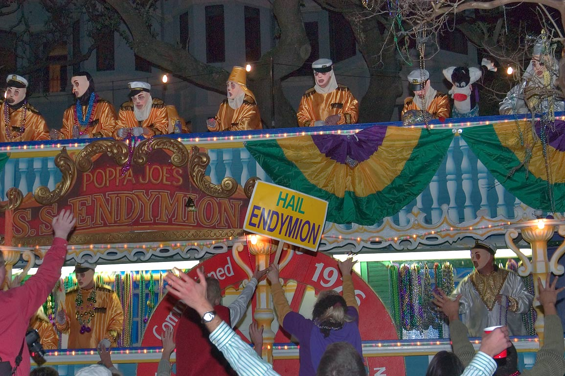 "Hailing ""Poppa Joe's"" float of krewe of Endymion...Charles Ave.. New Orleans, Louisiana"
