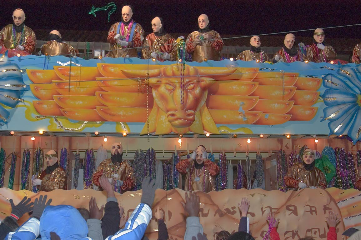 "The Golden Calf"" float (No. 8) of krewe of...Charles Ave.. New Orleans, Louisiana"