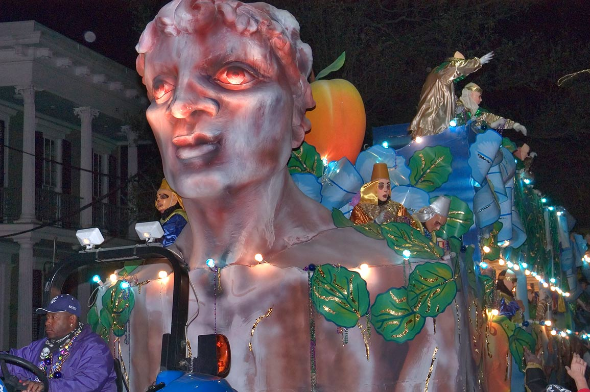 Adam float of krewe of Endymion at Mardi Gras...Charles Ave.. New Orleans, Louisiana